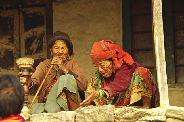 Grannies enjoying their pipe